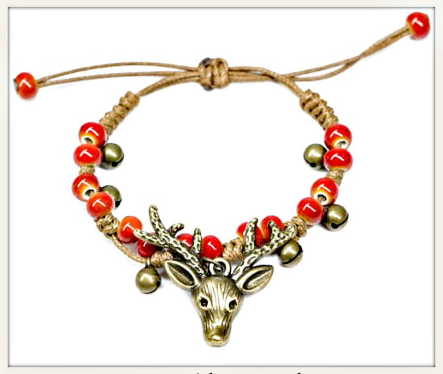 OH DEER BRACELET Antique Bronze Deer & Handmade Ceramic Bead Bracelet