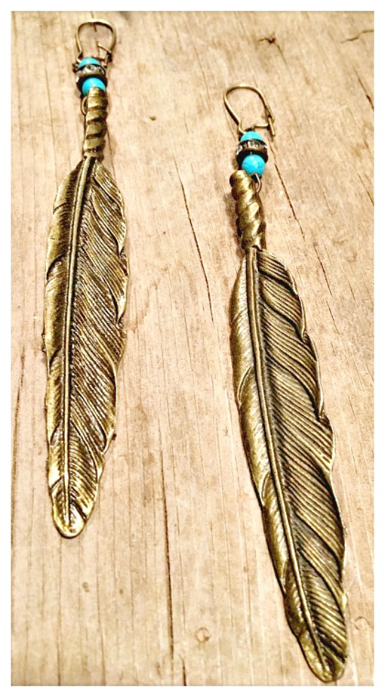 COWGIRL GYPSY EARRINGS Antique Bronze Feather Rhinestone & Turquoise Long Boho Earrings