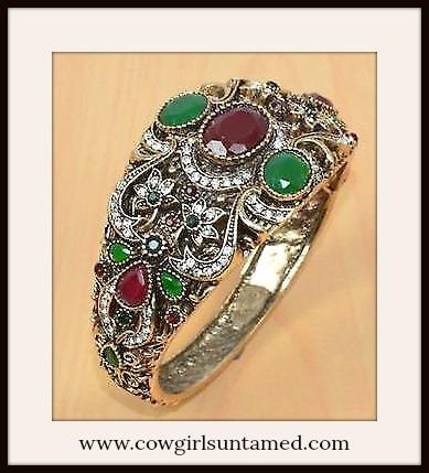 VINTAGE BOHEMIAN CUFF Vintage Style Ruby & Emerald Brass Overlay SS Boho Cuff Bracelet