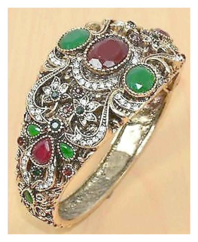 VINTAGE BOHEMIAN CUFF CZ, Ruby & Emerald Brass Overlay Boho Cuff Bracelet
