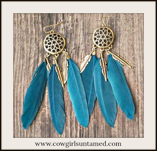 BOHO CHIC EARRINGS Teal & Antique Bronze Feather Dreamcatcher Earrings