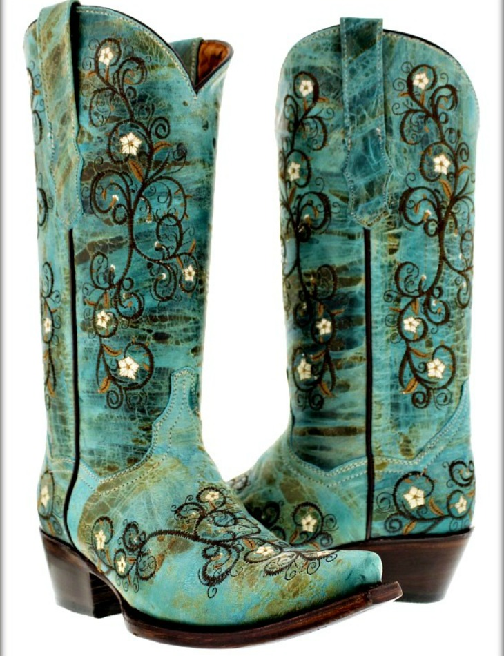WILDFLOWER BOOTS Embroidered Floral Vines Distressed Aqua Leather Cowgirl Boots Sizes 5-11