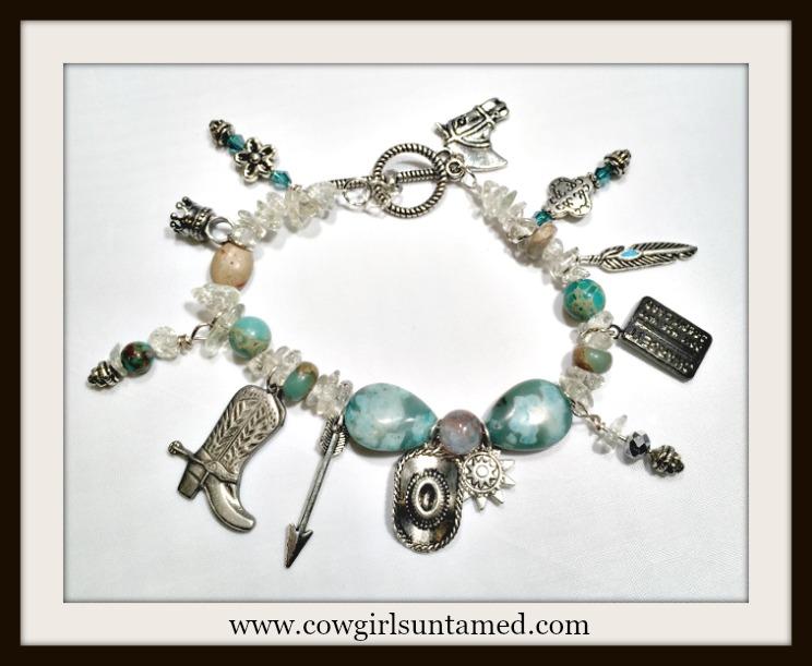 COWGIRL STYLE BRACELET Aqua Gemstone Beaded Antique Silver  Western Charm Bracelet