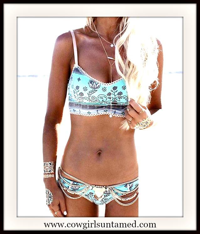 COWGIRL GYPSY BIKINI Light Blue Floral Padded Crochet Lace Trim Boho Bikini Set