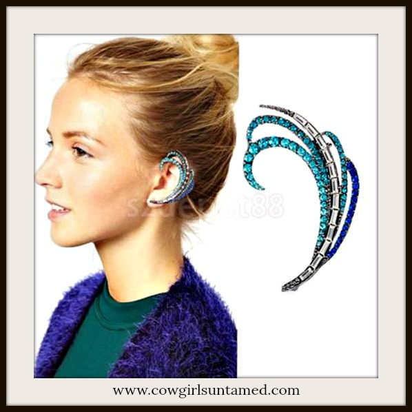 BOHEMIAN COWGIRL EAR CUFF Aqua Blue Clear Rhinestone Feather Silver Vintage Look Pierced Ear Cuff
