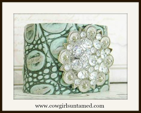 COWGIRL GYPSY CUFF Aqua N Pale Pink Embossed Leather N Silver Rhinestone Concho Bracelet
