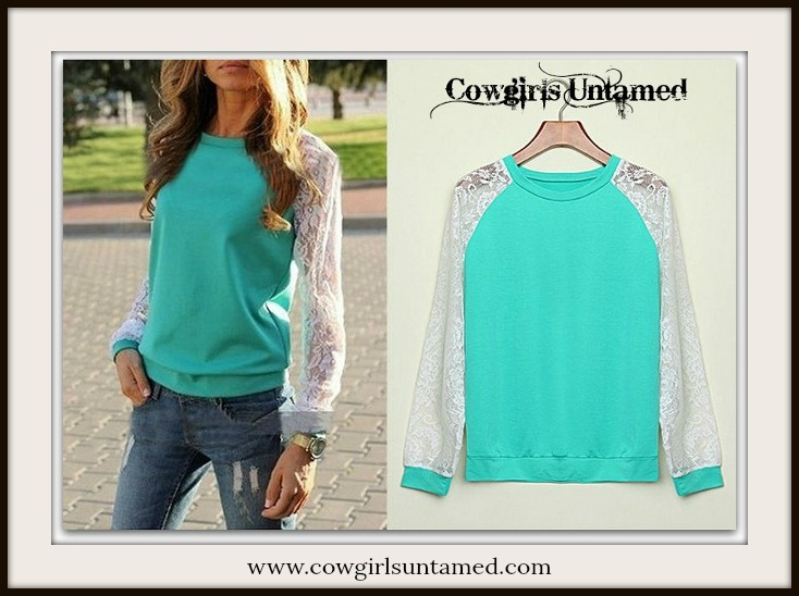COWGIRL STYLE TOP White Lace Sleeve on Aqua Pullover Top