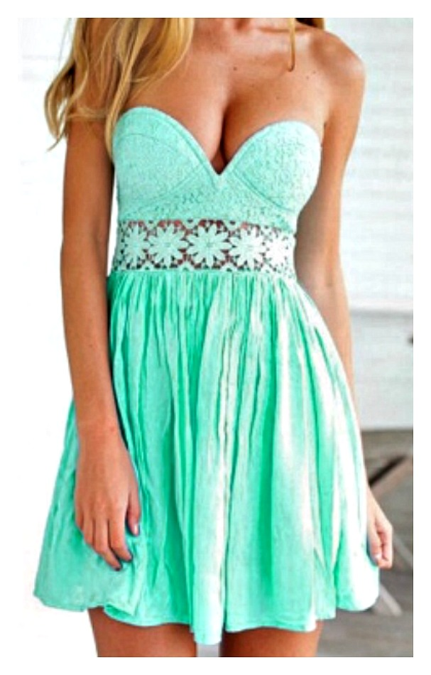 WILDFLOWER DRESS Mint Lace and Chiffon Strapless Mini Dress  ONLY 2 LEFT!