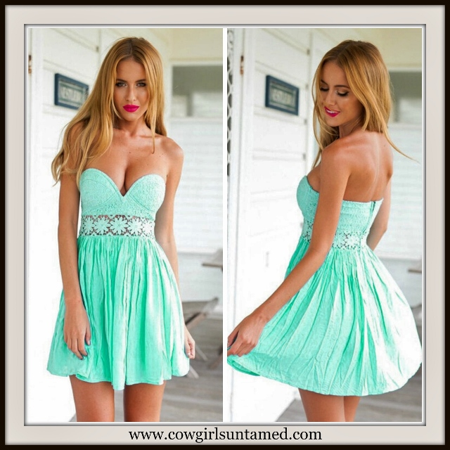 WILDFLOWER DRESS Mint Lace and Chiffon Strapless Mini Dress