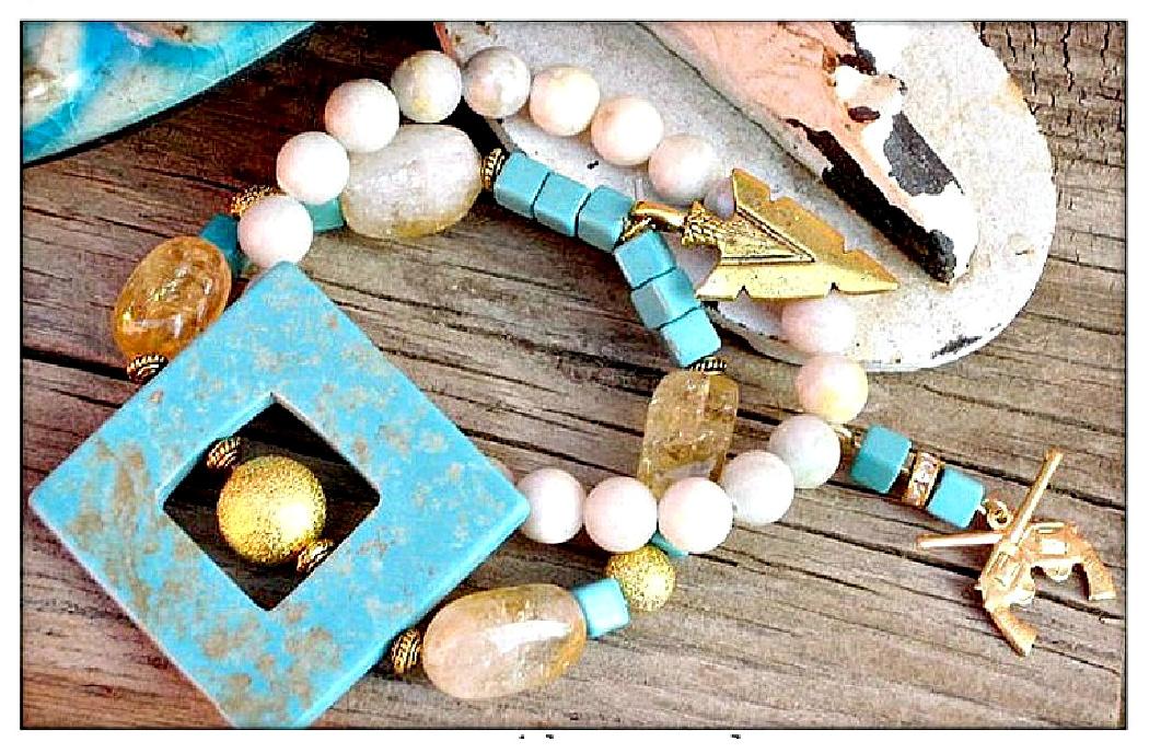 COWGIRL STYLE BRACELET SET Turquoise Gemstone Charm Bracelet Set  2 Designs!