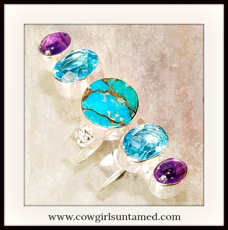 BOHEMIAN COWGIRL RING Turquoise Aquamarine & Topaz .925 SS Plated Ring