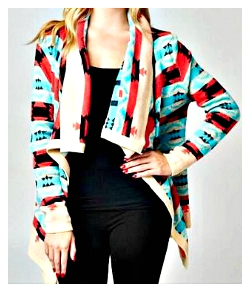 COWGIRL GYPSY SWEATER Aqua Coral & Black Aztec Design on Beige Boho Open Cardigan