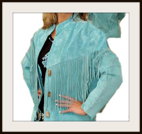 COWGIRL STYLE JACKET Aqua Turquoise Scully Boar Suede Leather Long Sleeve Fringe Western Coat Jacket
