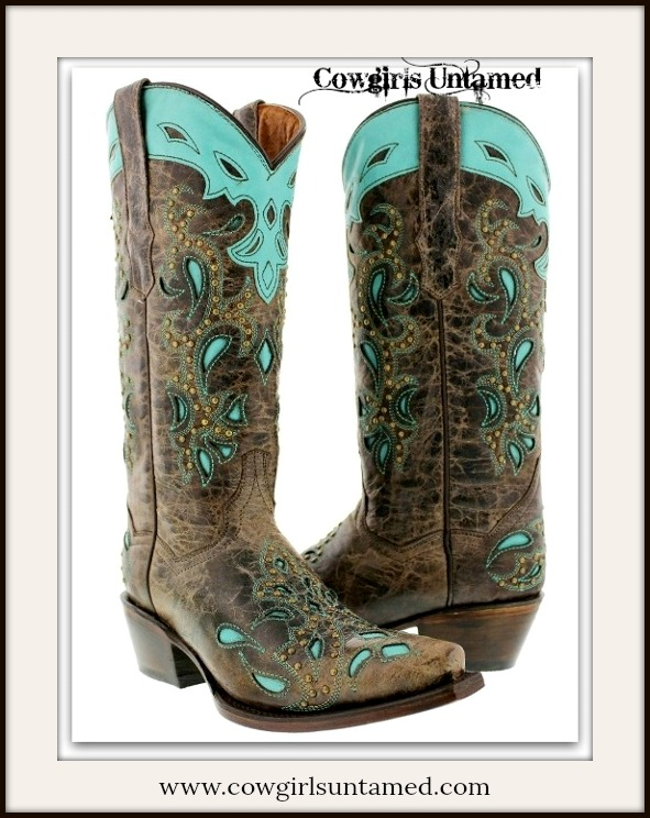COWGIRL GYPSY BOOTS Aqua Turquoise Inlay on Brown GENUINE LEATHER Studded Western Boots