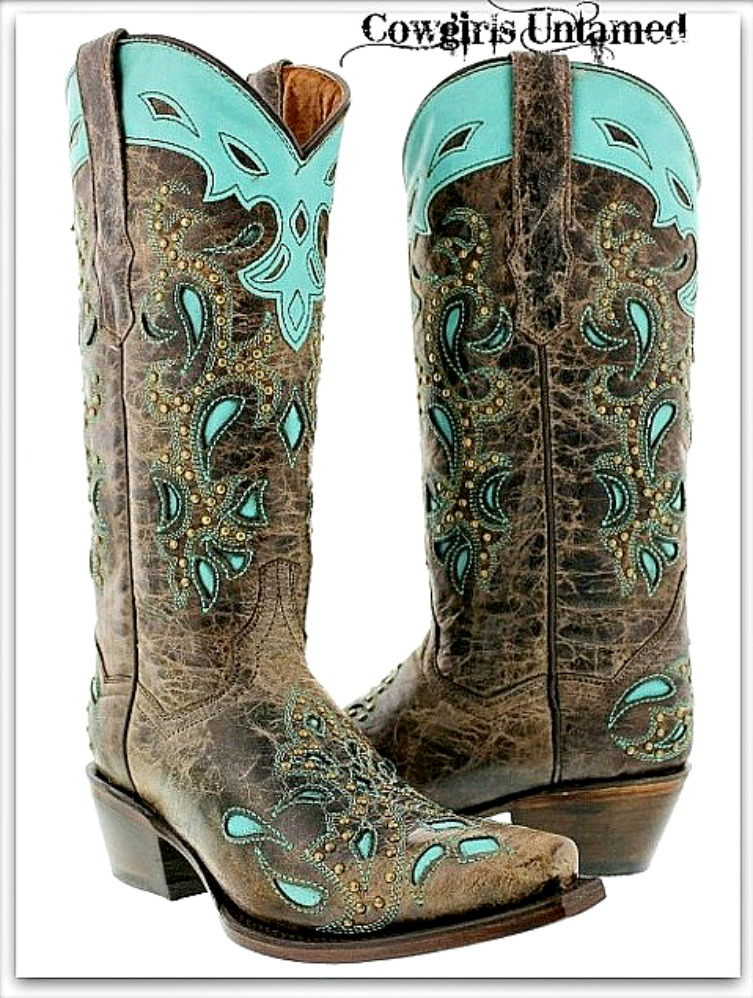 COWGIRL STYLE BOOTS Turquoise and Brown Paisley Inlay Bronze Studded Genuine Leather Western Boots