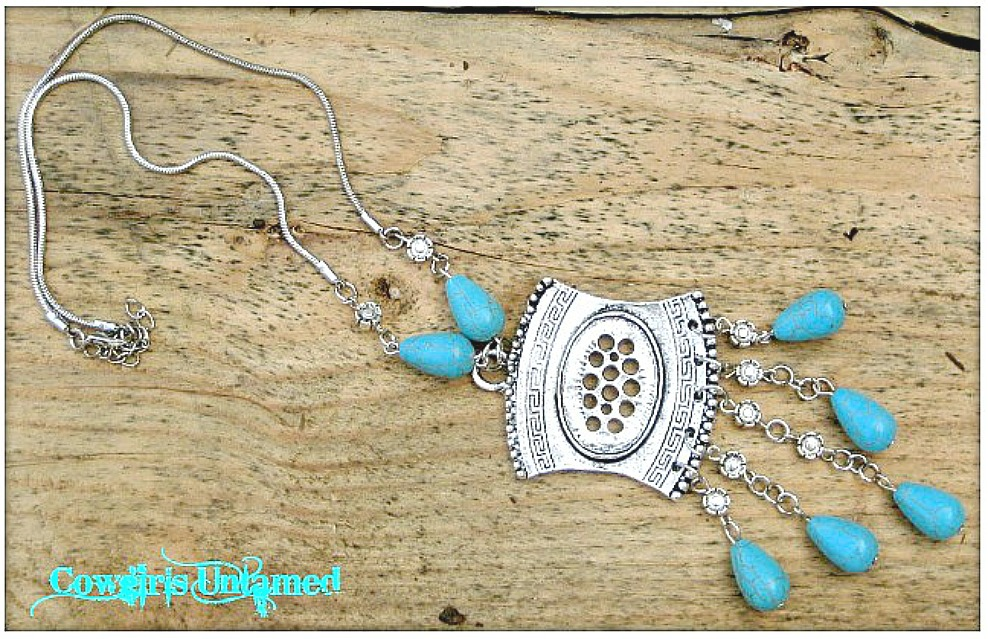 COWGIRL GYPSY NECKLACE Turquoise and Antique Silver Long Boho Necklace
