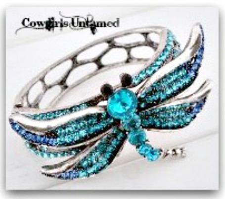 TOUCH OF GLAM CUFF Aqua Rhinestone Dragonfly Bangle Cuff Bracelet