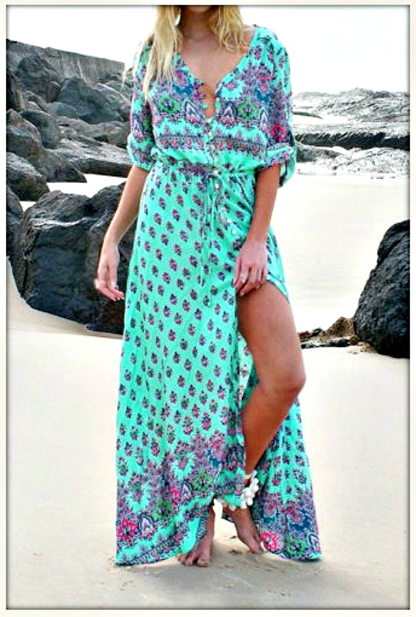 BOHEMIAN COWGIRL DRESS Multi Color Paisley Floral Slit V Neck Boho Maxi Dress  PLUS SIZES AVAILABLE