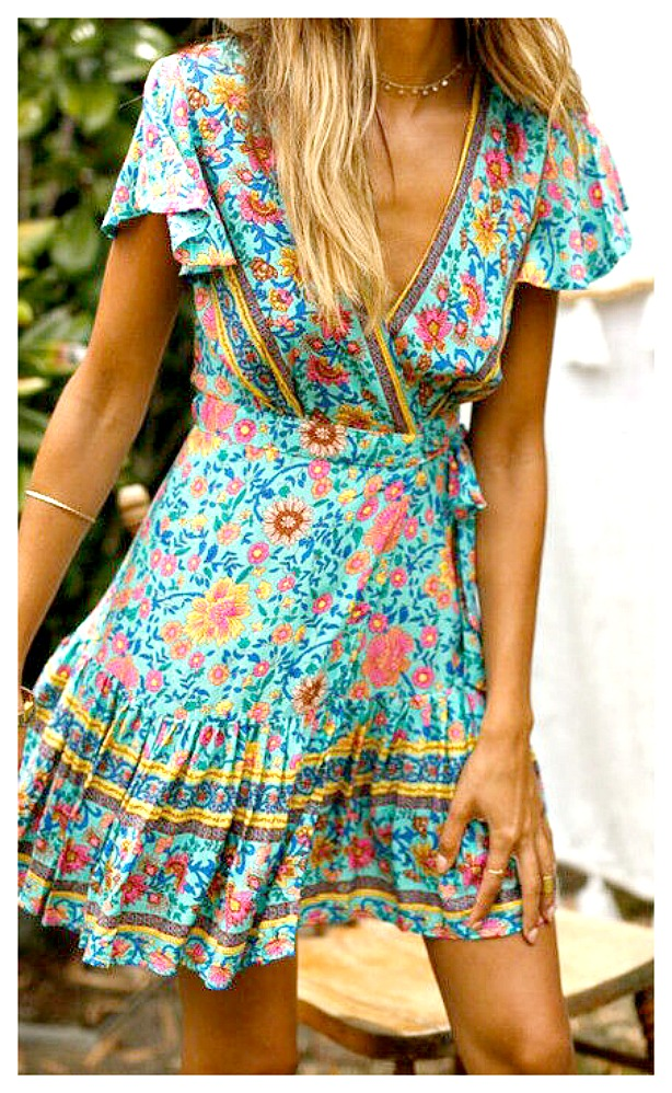 THE SAVANNAH DRESS Aqua Floral Deep V Short Sleeve Flowy Summer Dress