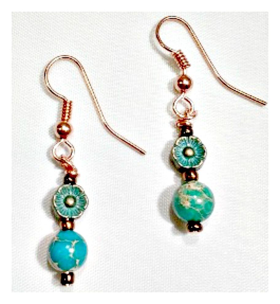 GYPSY SOUL EARRINGS Aqua Patina Copper Daisy and Metallic Copper with Blue Jasper Gemstone Earrings LAST PAIR