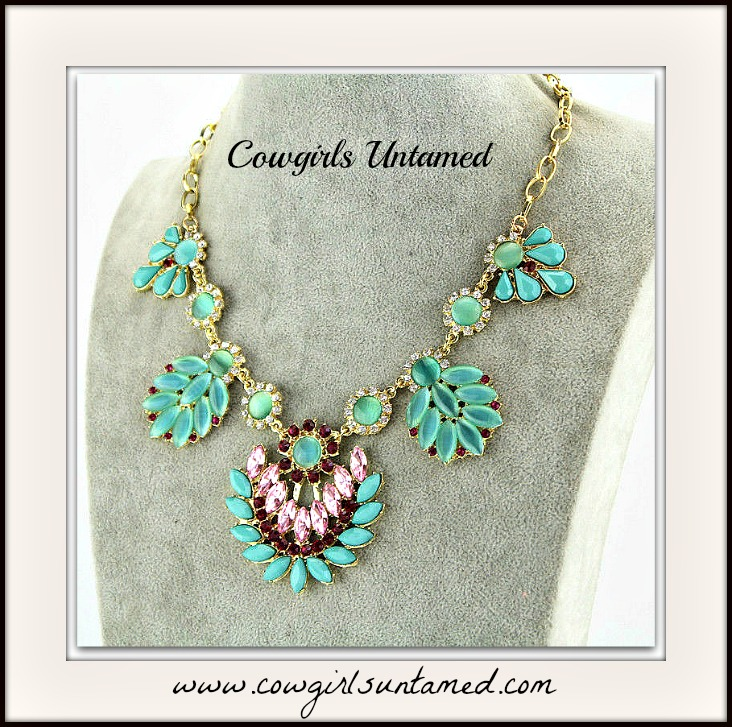 COWGIRL GLAM NECKLACE Crystal Gypsy Turquoise Flower Rhinestone Statement Bib Necklace