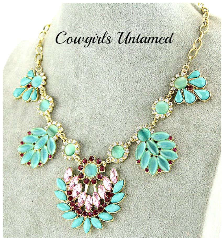 TOUCH OF GLAM NECKLACE Crystal Gypsy Turquoise Flower Rhinestone Statement Bib Necklace