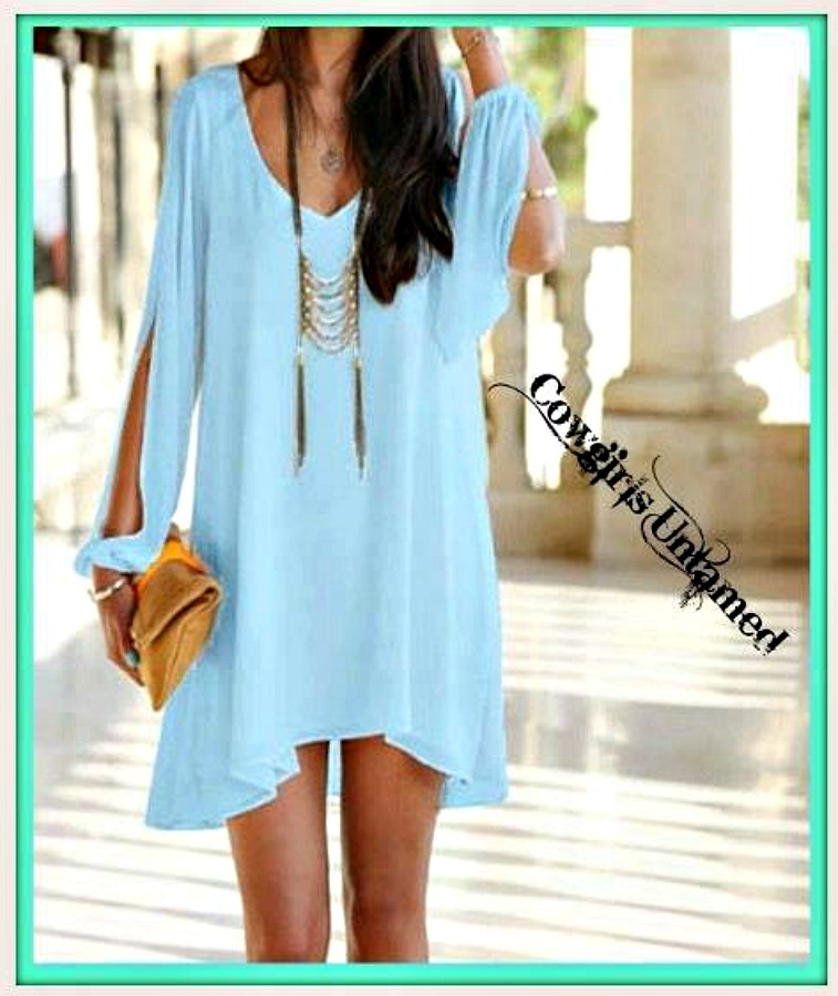 BLUE LAGOON DRESS Aqua Open Slit Sleeve Hi Low Hemline Mini Dress / Tunic Top