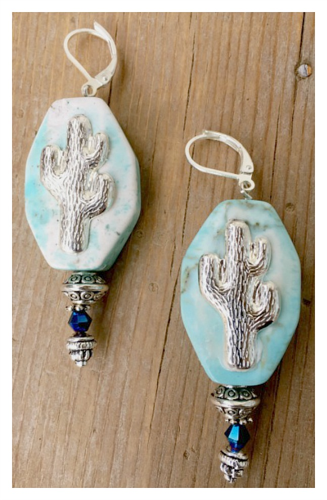 COWGIRL STYLE EARRINGS Aqua Stone with Sterling Silver Cactus Blue Crystal Silver Earrings