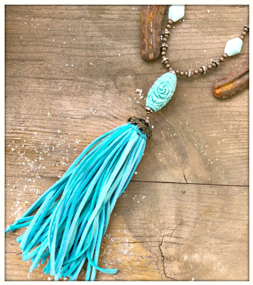 BOHEMIAN COWGIRL NECKLACE Antique Bronze Rhinestone Floral Carved Aqua Shell & Leather Tassel Pendant Necklace