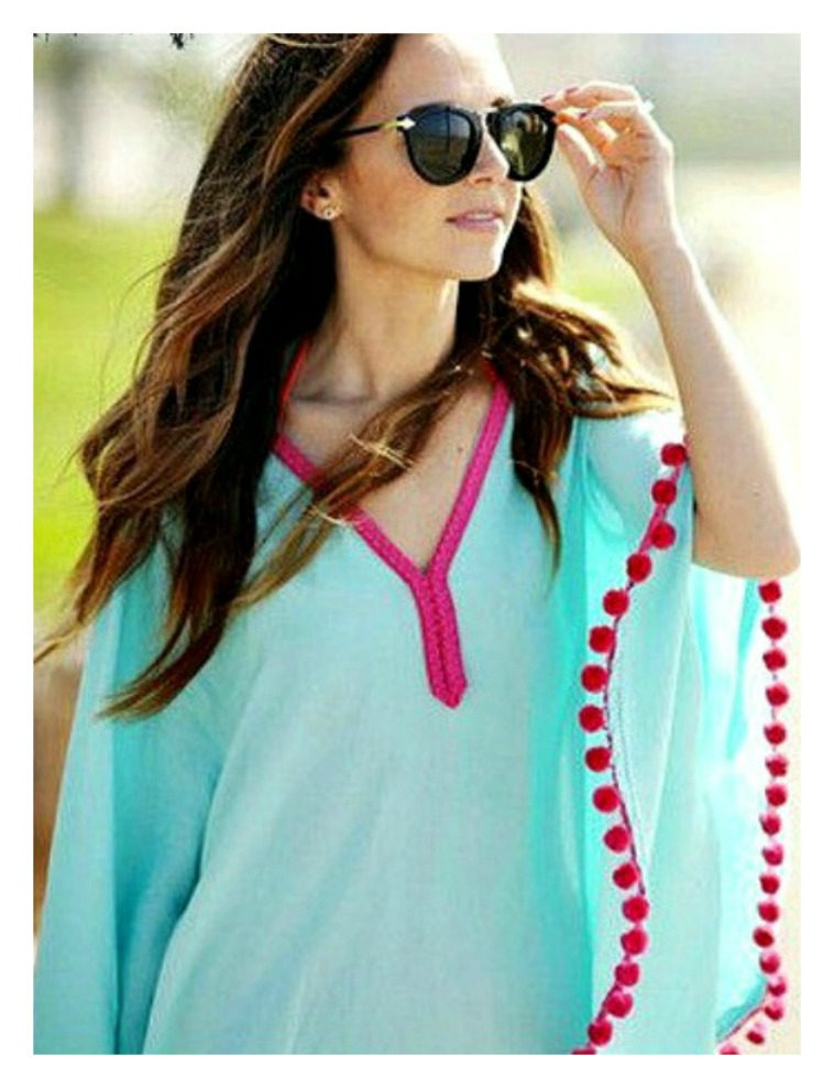 WILDFLOWER COVER UP Hot Pink Pom pom trim on Aqua Poncho Style Boho Bikini Coverup