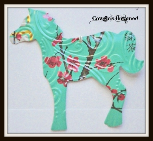 HOLIDAY HOME DECOR Green Pink Brown Arizona Tea Can Horse Western Decor Ornament