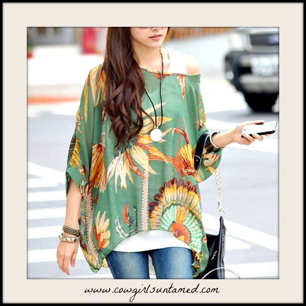 BOHEMIAN COWGIRL TOP Sheer Feather Print Olive Green Oversized Blouse