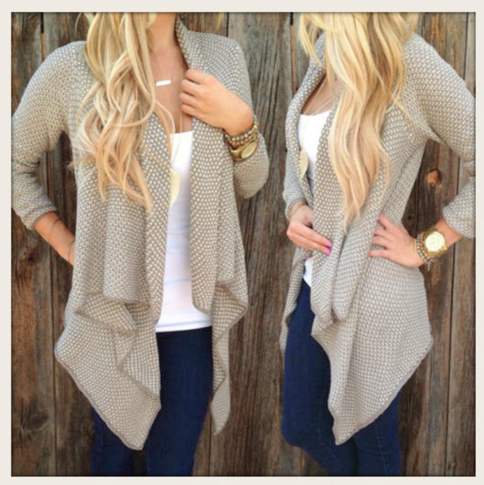 WILDFLOWER SWEATER Beige & Cream Asymmetrical Hemline Open Cardigan Sweater LAST ONE L/XL