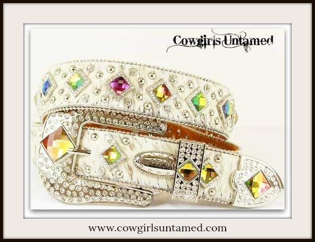 COWGIRL BELT Rhinestone Studded Prism Concho White Hair on Hide Leather Belt
