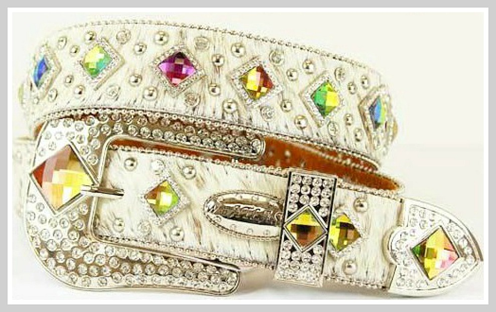 COWGIRL BELT Rhinestone Studded Prism Concho White Hair on Hide Leather Belt LAST ONE Med