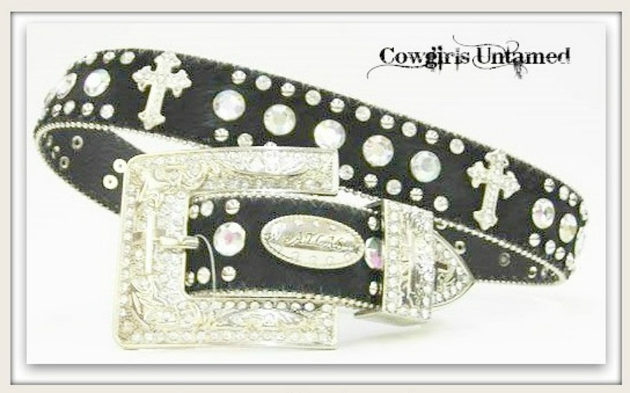 COWGIRL STYLE BELT Rhinestone N Silver Studded with Silver Crystal Cross Concho N Silver Crystal Buckle Black LEATHER Belt