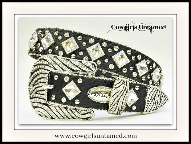 COWGIRL BELT Rhinestone Studded Crystal Silver Zebra Buckle Black Leather Belt