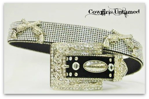 COWGIRL OUTLAW BELT Rows of Rhinestone and Crystal Silver Sixshooter Conchos on Rhinestone Studded Black Western Belt