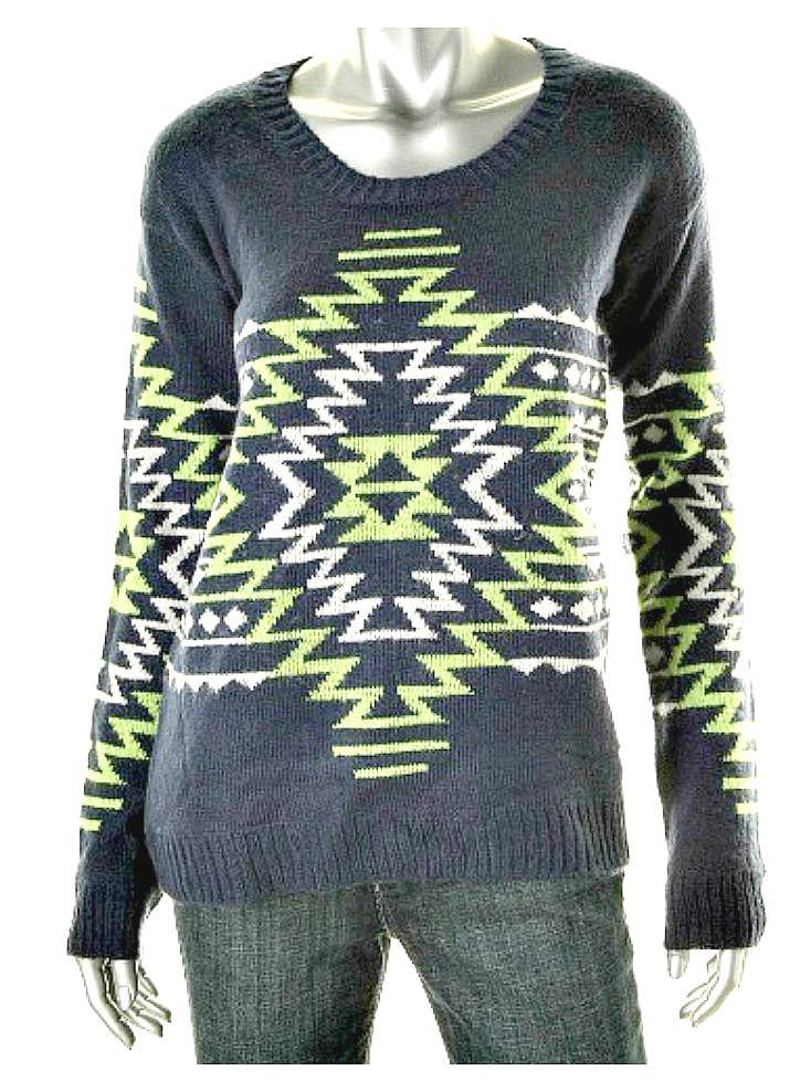 COWGIRL STYLE SWEATER Green and White Aztec Design on Blue Sweater