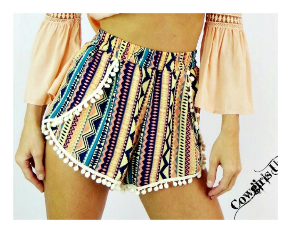 ON VACAY SHORTS Multi Colored Tribal Boho Pom Pom Shorts LAST ONE L/XL