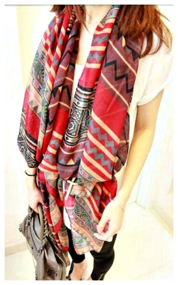 BOHO CHIC SCARF Aztec Long Cotton Scarf / Shawl