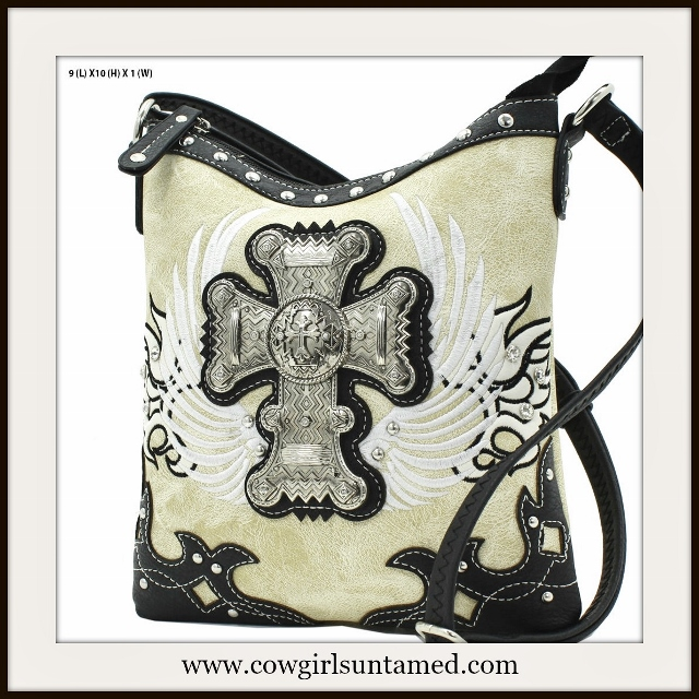CHRISTIAN COWGIRL BAG Aztec Silver Cross Embroidered Wings Black N Beige Messenger Bag
