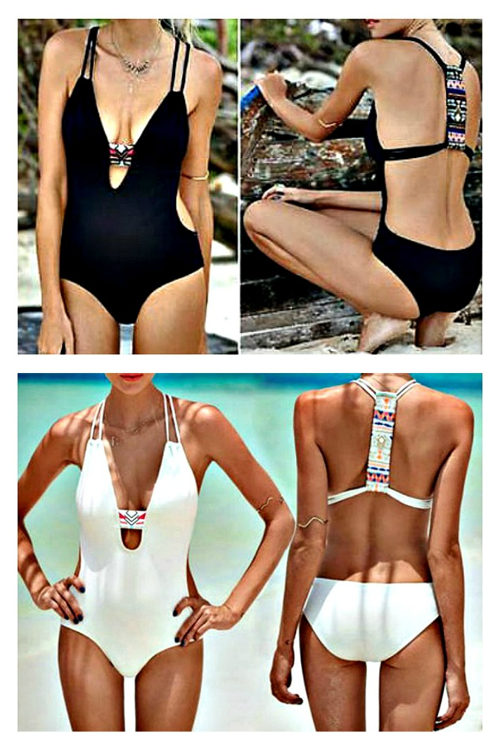 SEXY SWIMWEAR Black or White Multi Color Aztec T-Strap Deep V Boho Padded Monokini
