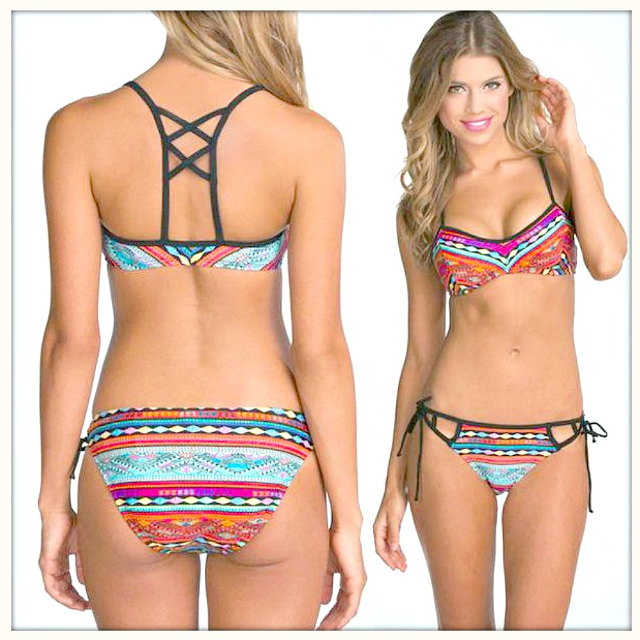 COWGIRL GYPSY BIKINI Multi Color Aztec Criss Cross Ladder Back Bikini
