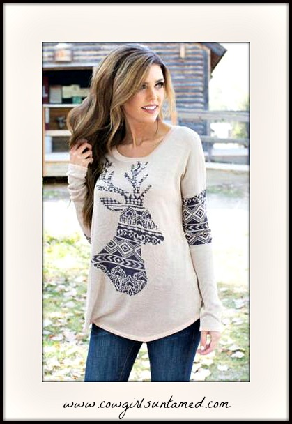 COWGIRL STYLE TOP Deer Aztec Print Cream Long Sleeve Top