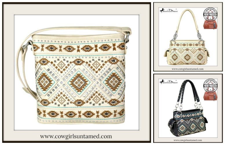 COWGIRL GYPSY HANDBAG Silver Studded Aztec Embroidered Leather Bags  2 STYLES!