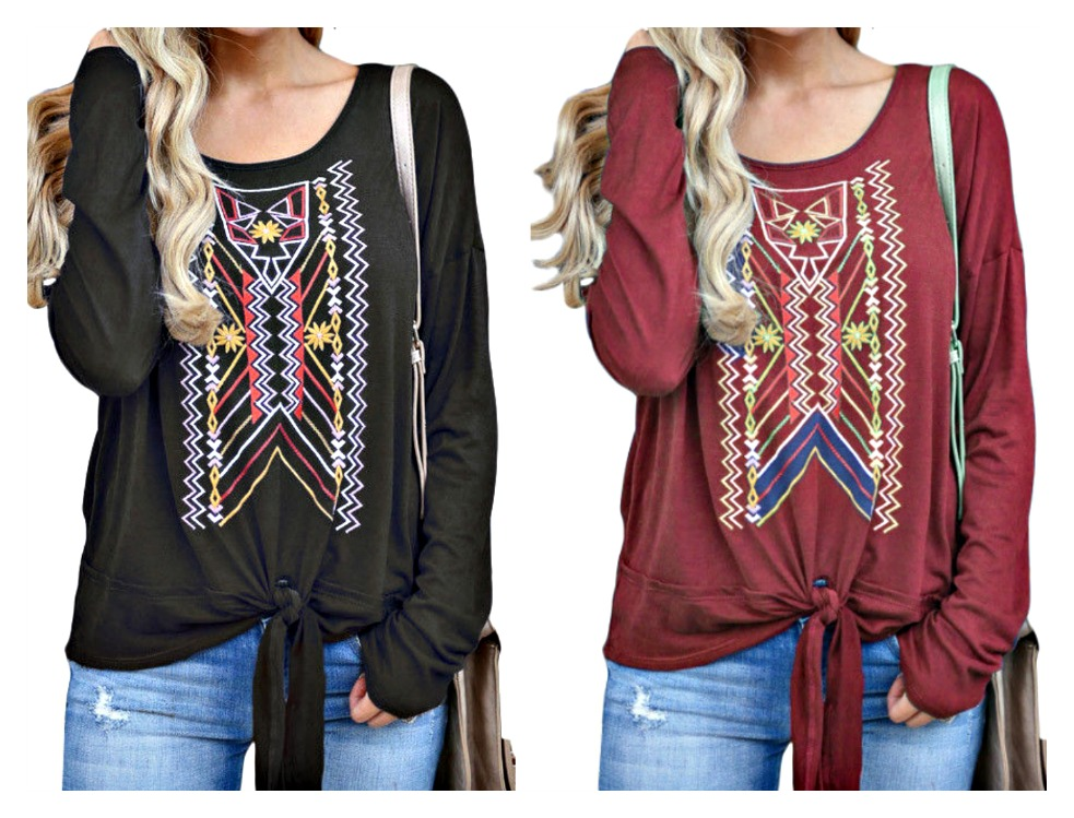 THE SELENA TOP Geometric Print Long Sleeve Tie Front Top  2 COLORS!