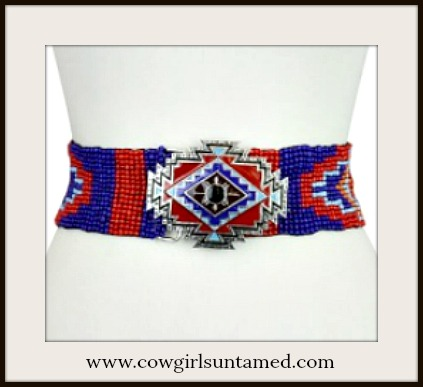 BOHEMIAN COWGIRL BELT Red & Blue Aztec Beaded Diamond Buckle Stretchy Belt