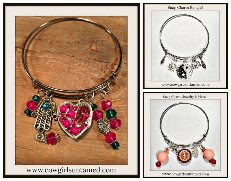 COWGIRL GYPSY BRACELET Silver Bangle w/ Hot Pink Pearl Crystal Heart Snap Flower Teal Handmade Beaded Charms