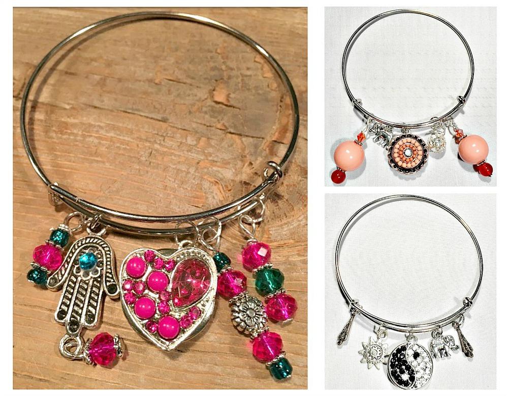 COWGIRL GYPSY BRACELET Custom Silver Bangle w/ Crystal Snap Handmade Charm Bracelet - 3 STYLES